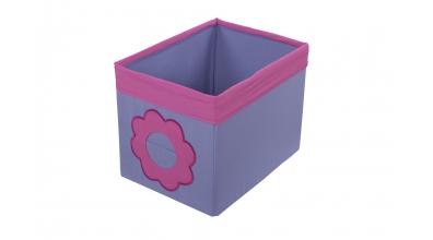 Textilní box do regálu kytka růžovo/fialový