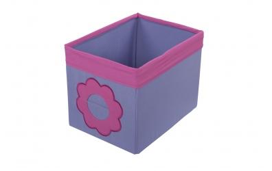 Textilní box do regálu kytka růžovo fialový