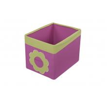 Textilní box do regálu kytka růžovo/zelený