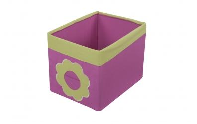 Textilní box do regálu kytka růžovo zelený