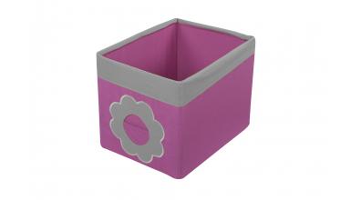 Textilní box do regálu kytka růžovo/šedý