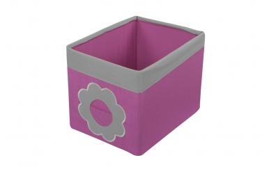 Textilní box do regálu kytka růžovo šedý