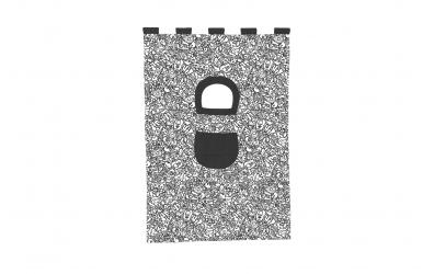 Závěsná textilie COMICS palanda nízká - černobílý