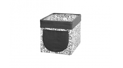 Textilní box do regálu COMICS černobílý