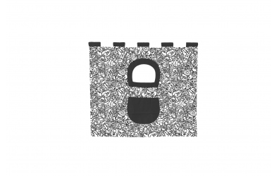 Závěsná textilie COMICS zvýšené jednolůžko - černobílý