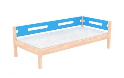 Jednolůžko BUBLINY s nízkým čelem levým se zábranou buk cink, dětská postel z masivu
