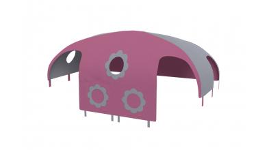 Domeček stan pro dělené čelo a zábranu A B pravý - růžovo/šedá