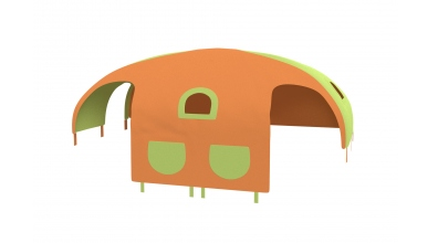 Domeček stan pro dělené čelo a zábranu A B levý - zeleno/oranžový