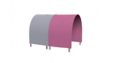 Tunel na postel pro zábranu A B - růžovo/šedá