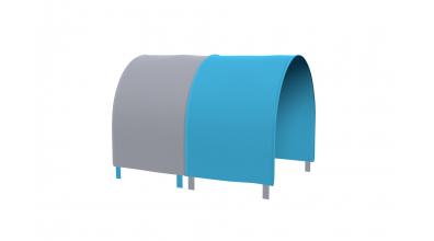 Tunel na postel pro zábranu A B - tyrkysovo/šedá
