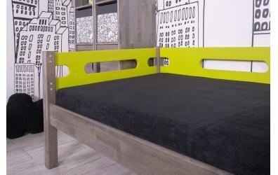 Jednolůžko BUBLINY s nízkým čelem pravým se zábranou  buk cink, dětská postel z masivu