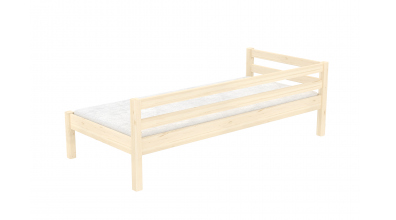 Jednolůžko se zábranou a nízkým čelem pravým smrk, dětská postel z masivu