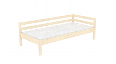 Jednolůžko se zábranou a nízkým čelem levým smrk, dětská postel z masivu