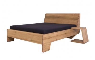Manželská postel KUPÉ, divoký dub