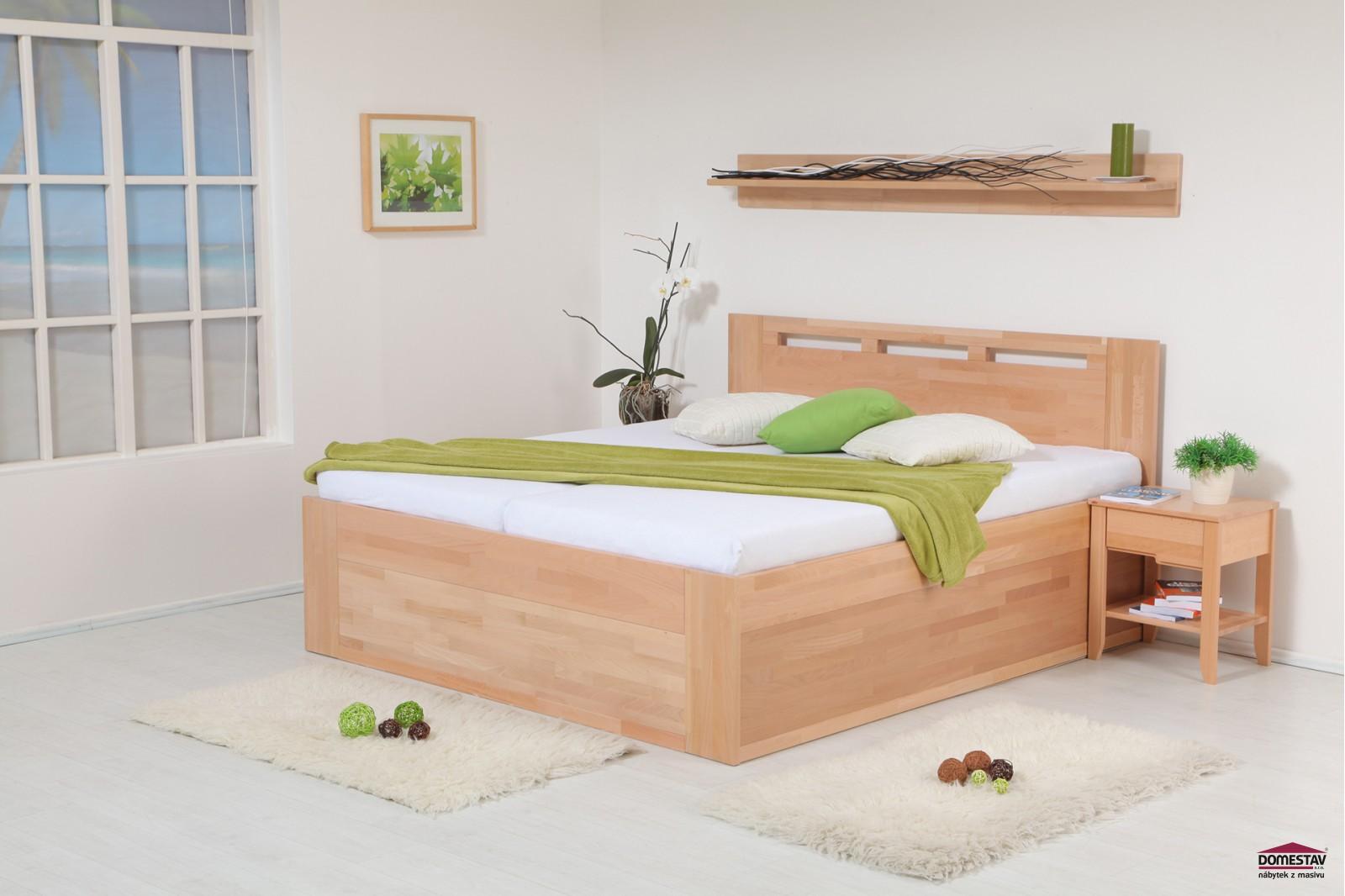62f2aef67163 Manželská postel VALENCIA Senior s úložným prostorem 180 cm buk cink ...