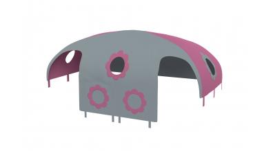 Domeček stan pro zábranu A B - růžovo/šedý