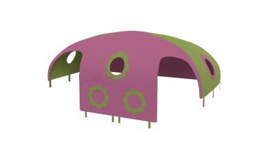 Domeček stan  pro zábranu A B - růžovo/zelený
