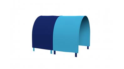 Tunel na postel zábrana A B - tyrkysovo/modrá