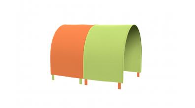 Tunel na postel zábrana A B - zeleno/oranžová