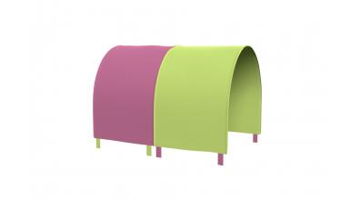 Tunel na postel zábrana A B - růžovo/zelená