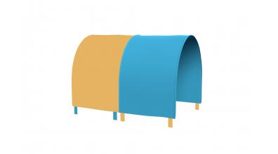 Tunel na postel zábrana A B - žluto/tyrkysová