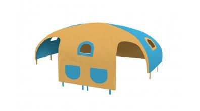Domeček stan pro zábranu A B - žluto tyrkysový