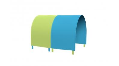 Tunel na postel zábrana A B - tyrkysovo/zelená
