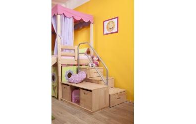 Jednolůžko s děleným čelem pravé buk cink, dětská postel z masivu