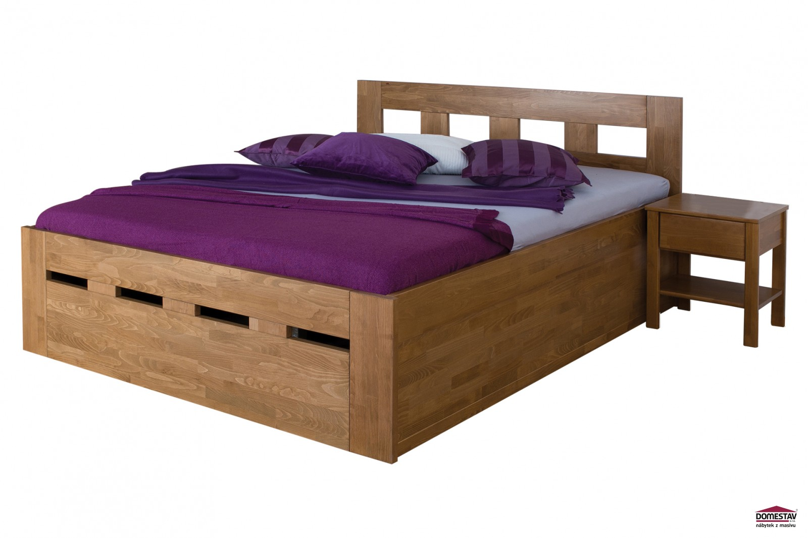 49a3e66fb8d9 Manželská postel MERIDA Senior s úložným prostorem 180 cm buk cink ...