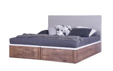 Manželská postel DREAMBOX s čalouněným čelem, čelní výklop 180x200 cm, buk cink