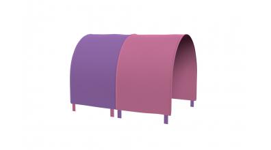 Tunel na postel zábrana A B - růžovo/fialová