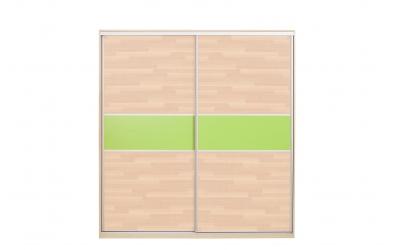 Skříň s posuvnými dveřmi 195 cm buk cink