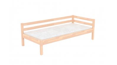 Jednolůžko se zábranou a nízkým čelem levým buk cink, dětská postel z masivu