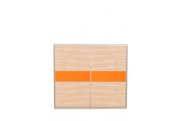Skříň s posuvnými dveřmi  250 cm buk cink