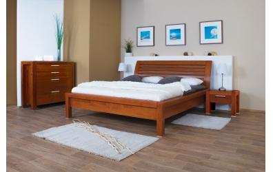 Manželská postel MANON s oblým čelem laťkovým 180 cm buk cink