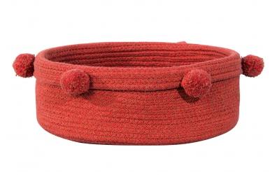 Koš LORENA CANALS pletený s bambulemi, červený