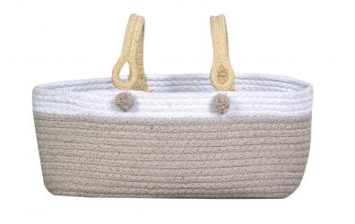 Koš LORENA CANALS taška s bílým okrajem, vanilkový